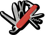 rotes Klapptaschenmesser als Zugabe eines Multimeter im Test
